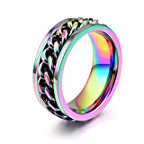 JAJAFOOK Jewelry 8mm Color Chain Design Stainless Steel Spinner Rings for Mens & Womens Wedding Bands 11