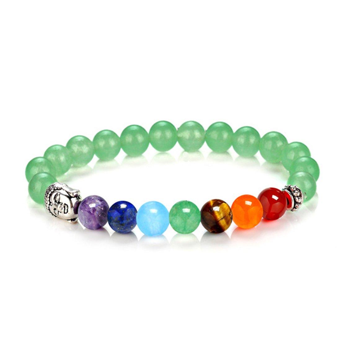8mm 7 Chakra Natural Stone Yoga Buddha Bracelet Healing Energy Beads Wristband CA-YJSL