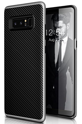 Galaxy Note 8 Case,Myriann Dual Layer Premium Bumper Style Ultra Slim Carbon Fiber Textured Scratch Resistant Shock Absorption Protective Case for Samsung Galaxy Note8(Silver)