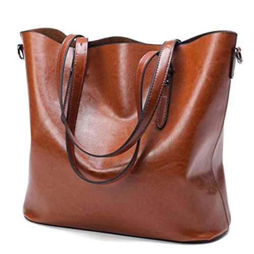 Sac PU sac Grande Sacs féminine célèbre d'huile 35cm Brown tout main Cuir Mesdames à Sac à fourre brown Cire femmes grand Bolsas Capacité bandoulière femmes rwtCpqrPx