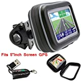 """ChargerCity® Exclusive 5"""" Screen Water Resistant GPS Case w/Security Screw & Heavy Duty install Bike Bicycle Motorcycle Handle Bar Mount for Garmin Nuvi 58 57 56 55 54 52 50 2595 2557 2558 2577 2555 TOMTOM XXL GO 2535 2505 500 50 Start 55 50 Via 1505 1535 GPS Navigator *Include Free ChargerCity Micro SD Memory Card Reader & Direct Replacement Warranty* (Fits Boat Helm Also)"""