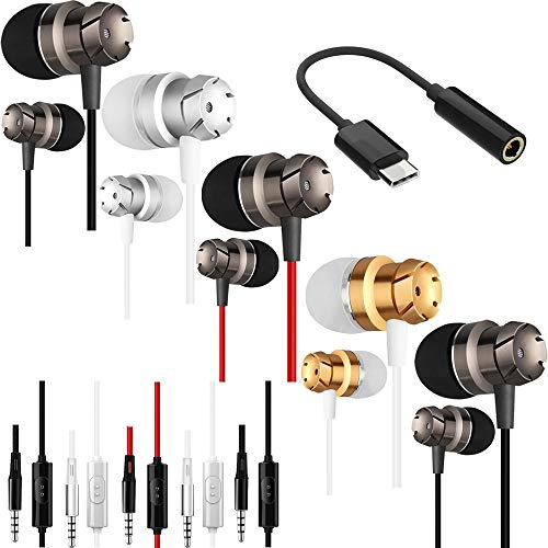 5 Packs Earbud Headphones with Remote & Microphone, SourceTon In Ear Earphone Stereo Sound Tangle Free for Smartphones, Laptops, Gaming, Fits All 3.5mm Interface Device w/3.5mm to Type C Adapter