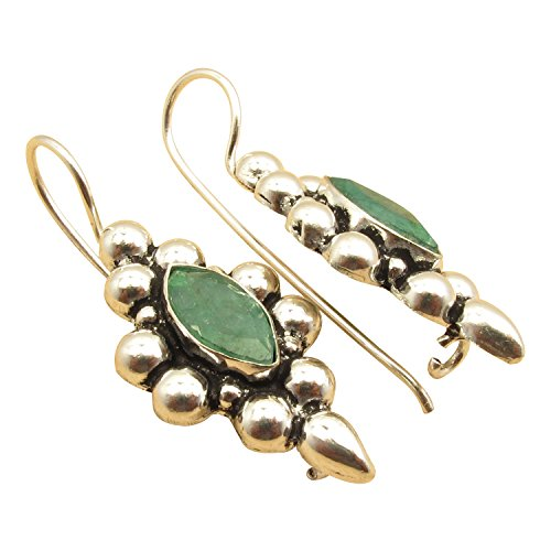 Tribal Look HOOK Earrings, MARQUISE EMERALD May Birthstone ! 925 Sterling Silver Plated Jewelry 1.4