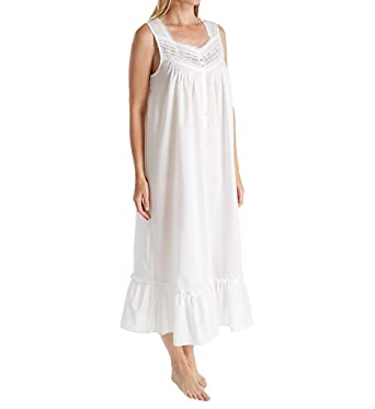 Eileen West White Cotton Nightgowns - Long Sleeveless Gown in Highland White  (White 5621b57e9