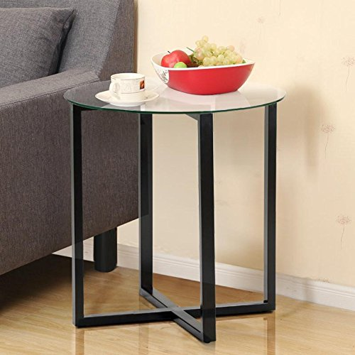 Yaheetech Round Glass Top Sofa Side End Table Small Spaces Living Room Coffee Tables Accent