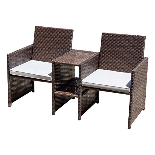 Art Deco Sectional Sofa - Shining Rattan Sofa Set One Piece Furniture Patio Garden Lawn with Cushioned Seat Outdoor