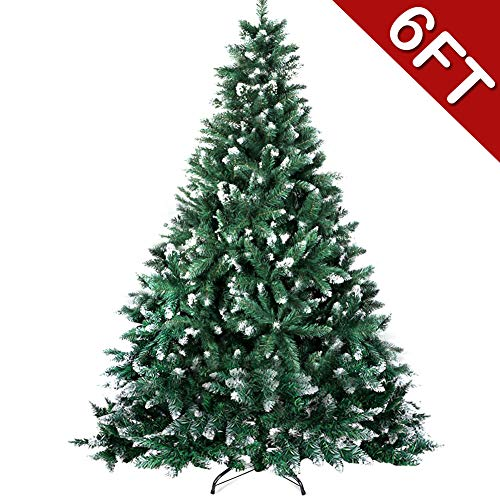 6ft Artificial Christmas Tree, Flocked Snow Christmas Trees with Metal Stand for Holiday Decoration, 1000 Tips