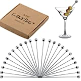 Cocktail Picks Stainless Steel Toothpicks - (24 Pack / 4 Inch) Martini Picks Reusable Fancy Metal Drink Skewers Garnish Sticks for Martini Olives Appetizers Bloody Mary Brandied