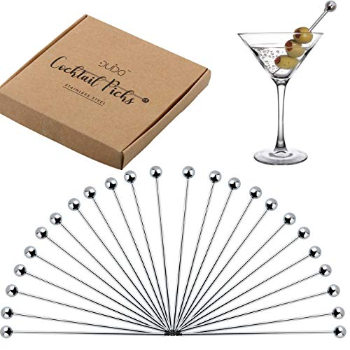 (Cocktail Picks Stainless Steel Toothpicks - (24-PACK) 4 inch Martini Picks Reusable Fancy Metal Drink Skewers Garnish Swords Sticks for Martini Olives Appetizers Bloody Mary Brandied Cherries Fruits)