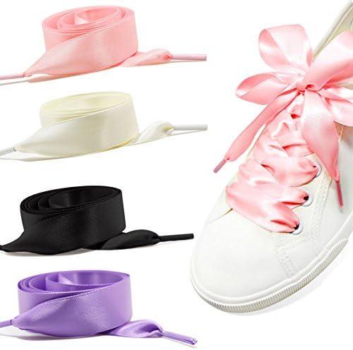 GWHOLE 靴ひも 4セット シューレース リボン幅 2cm 8本入り4色展開 スニーカー白 シューレース ピンク ブラック 紫