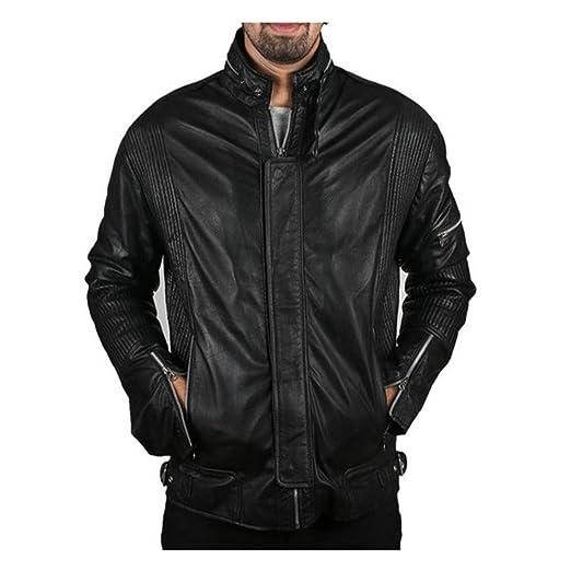 3b1e67534 Men's Black Biker Motorcycle Daft Punk Genuine Leather Jacket at ...