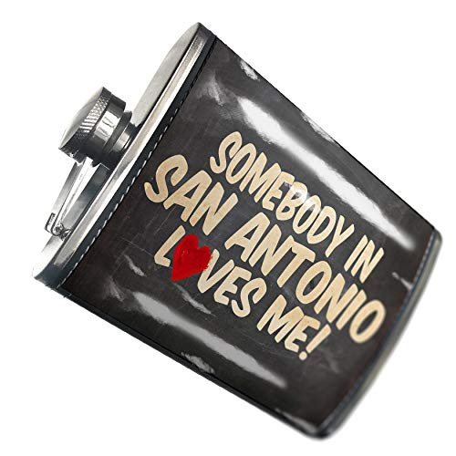 NEONBLOND Flask Somebody in San Antonio Loves me, Texas Hip Flask PU Leather Stainless Steel Wrapped ()