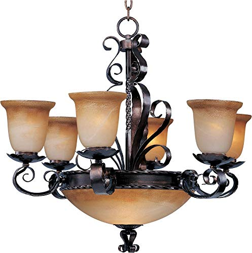 Maxim 20613VAOI Aspen 9-Light Chandelier, Oil Rubbed Bronze Finish, Vintage Amber Glass, MB Incandescent Incandescent Bulb , 60W Max., Damp Safety Rating, Standard Dimmable, Opal Glass Shade Material, Rated Lumens