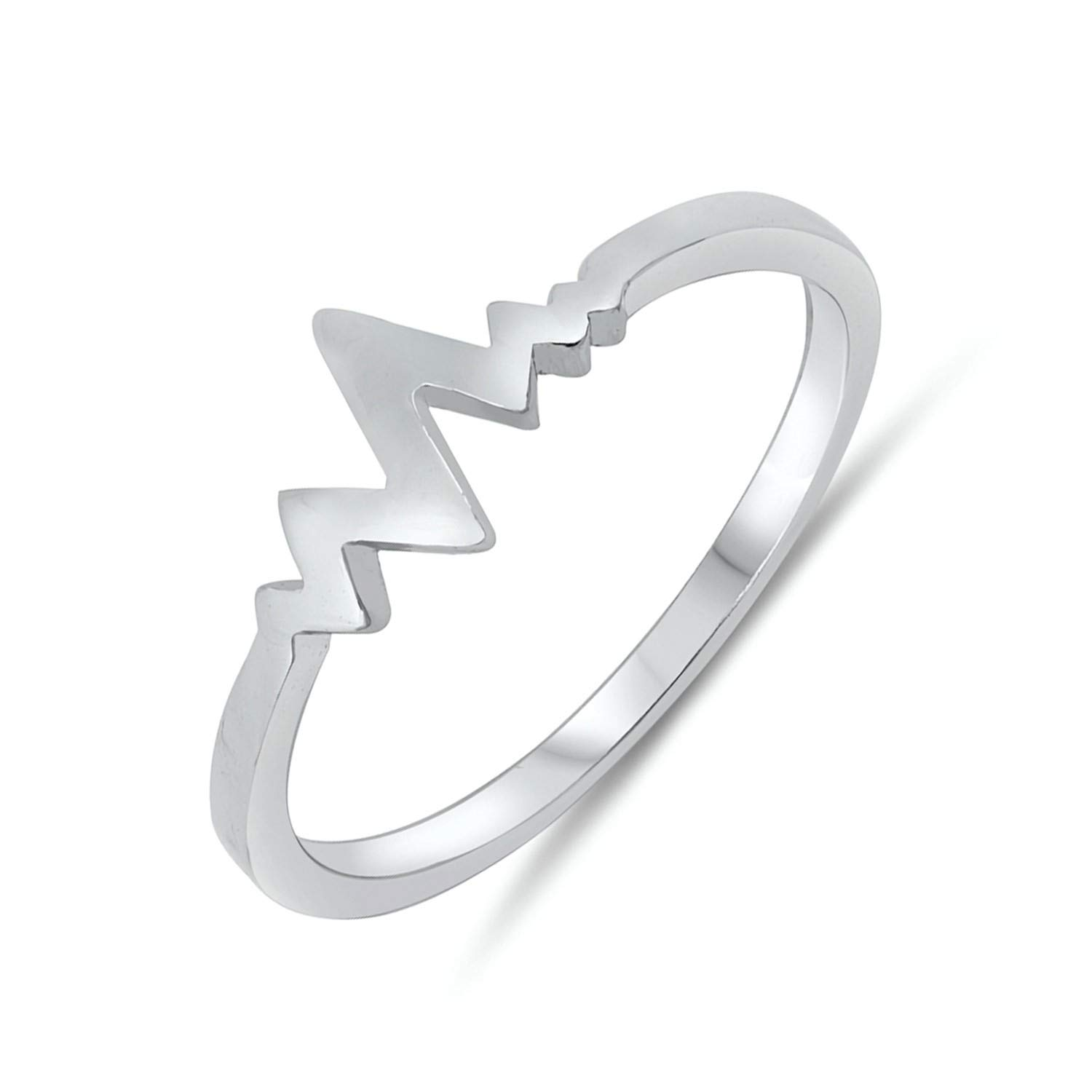 Zig Zag Womens 925 Sterling Silver Heart Beat Electric Pulse Ring Sizes 4-10