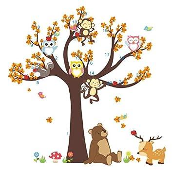 HALLOBO® Wandtattoo Eule Baum Bär AFFE Hirsch Wandsticker Aufkleber  Kinderzimmer Vögel