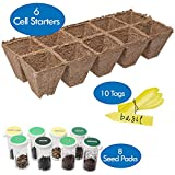 Herb Garden Seed Starter Kit | Grow 8 Fresh Organic Herbs & Spices at Home | Includes Six 10 Cell Starter Peat Trays (60 Cells) & 10 Easy Read Yellow Label Tags
