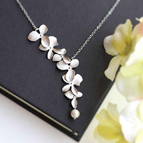 (daindyzzq Women Ladies Fashion Orchid Flower Shape Pendant Gold Silver Plated Flower Necklace Charm Jewelry)