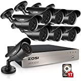 ZOSI 8-Channel HD 720P Video Security System DVR and (8) 1.0MP Indoor/Outdoor Weatherproof Cameras with IR Night Vision LEDs- 1TB HDD,120ft(40m) Night Vision, Motion Alert