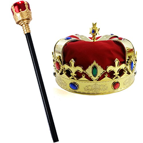 Tigerdoe Kings Crown and Scepter - King Costume Accessories - Royal Costumes - Dress Up]()