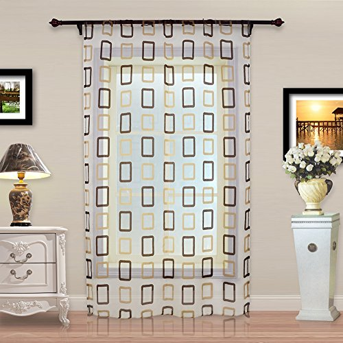 Top Geometric Squares Treatments Curtain