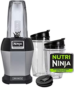 Ninja BL455_30 Nutri Professional Personal Blender Bonus Set with 3-Sip & Seal Single Serves(12, 18, and 24 oz. Cups) & 75-Recipe Cookbook, Stainless Steel/Black