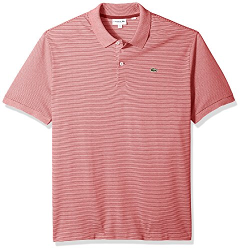 Lacoste Men's Short Sleeve Mille-Raye Mini Striped Pique Reg Fit Polo, PH3201, Intense/Flour X-Large