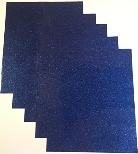 Blue Metallic Glitter - Qbc Craft 12x10 Dark Blue Glitter Permanent Adhesive Vinyl Sheets (5 Pack) for Cricut Maker Expression Explore Silhouette Cameo Make Adhesive Backed Vinyl Decals Signs Letters Monograms Scrapbooking