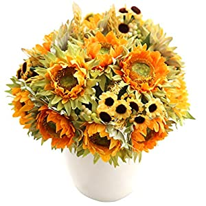 Yinhua Pack of 2 Artificial Sunflower Silk Sunflowers Bouquet Perfect Decoration for Home Office Wedding Party Garden Centerpieces Arrangements 65