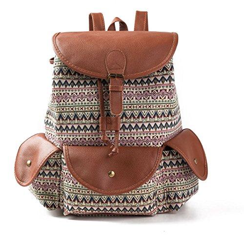Mujeres Lienzo Impreso Bolsa De Hombro Viaje De Gran Mochila Estilo Nacional Creative Lady Backpack Paquete De Bordado,B-32*15*39cm D