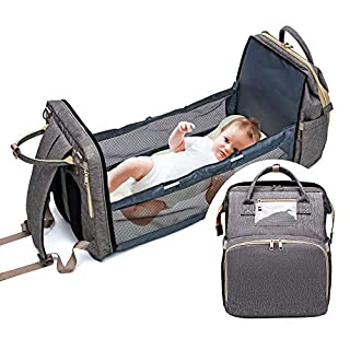 3 in 1 Diaper Bag Travel Bassinet Foldable Baby Bed Portable Diaper Changing Station Mummy Bag Backpack