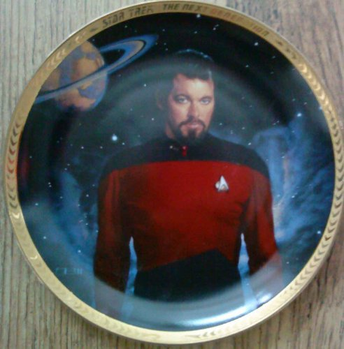 1993 Hamilton Star Trek Next Genertion William Riker Collector Plate - Limited And Mint Condition