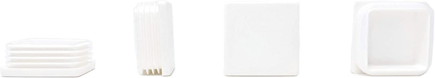 White, 15x15mm- See Second Image Before You Order This Size, Pack of 4 Plastic Tube Inserts Ribbed End Caps for Square Tubes Made in Germany