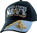 """United States Navy """"We OWN the Seas"""" Name Logo Military Armed Forces Embroidered Hat - Blue Navy Adjustable Buckle Closure Cap, Adjustable"""