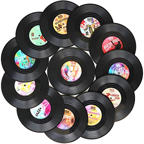 Funny Coasters for Drinks   Set of 12 Conversation Piece Sayings Vinyl Record Disk Music Drink Coaster   Housewarming Hostess Gifts, House Warming Present Decor Decorations Wedding Registry Gift - Coasters Record