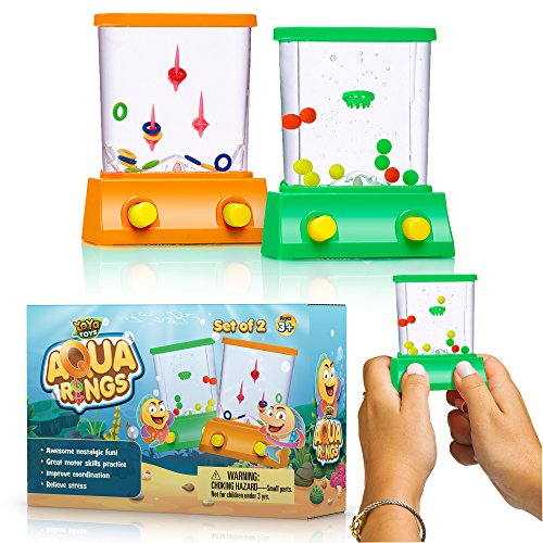 YoYa Toys Handheld Water Game A 2 Pack Set of A Fish Ring Toss and A Basketball Aqua Arcade Toy in 2 Compact Mini Retro Pastime for Kids and Adults in A Gift Box