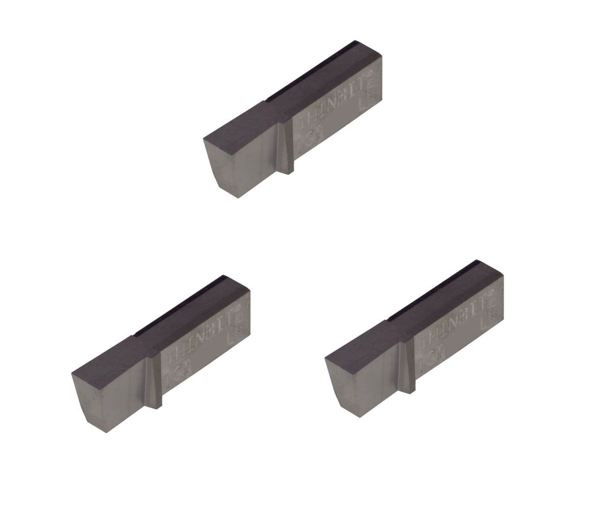 Sharp Corner Aluminium and Plastic Without Interrupted Cuts Uncoated Carbide Grooving Insert for Non-Ferrous Alloys THINBIT 3 Pack LGT124D5L 0.124 Width 0.250 Depth