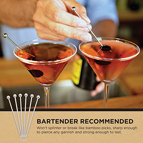 Stainless Steel Cocktail Picks - 4'' (12pc Set) by Top Shelf Bar Supply (Image #6)