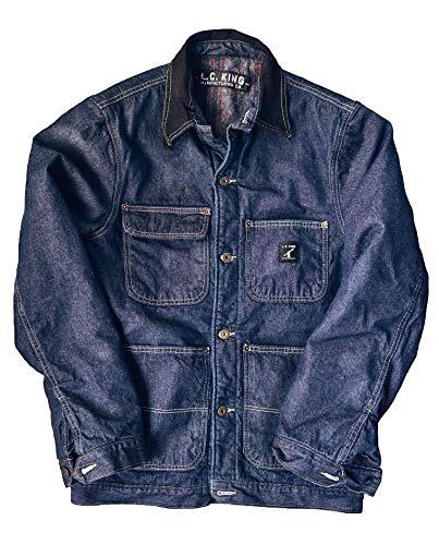 LC King Made in USA Men's Denim Blanket Lined Barn Coat - Coat Denim Barn