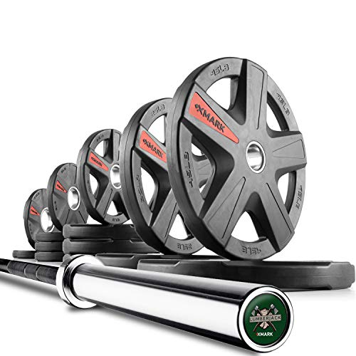 - XMark Lumberjack 7' Olympic Bar, Chrome with Black Manganese Phosphate Shaft, 28 mm Grip and 205 lb. XMark Texas Star Olympic Plate Weight Set