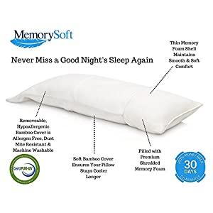 Luxury Memory Foam Body Pillow By MemorySoft, Shredded Memory Foam With Thin Memory Foam Shell - Washable, Hypoallergenic and Cool Bamboo Case