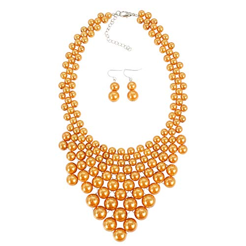 KOSMOS-LI Fashion Imitate Orange Pearl Strand Collar Handwoven Necklace for Women Jewelry