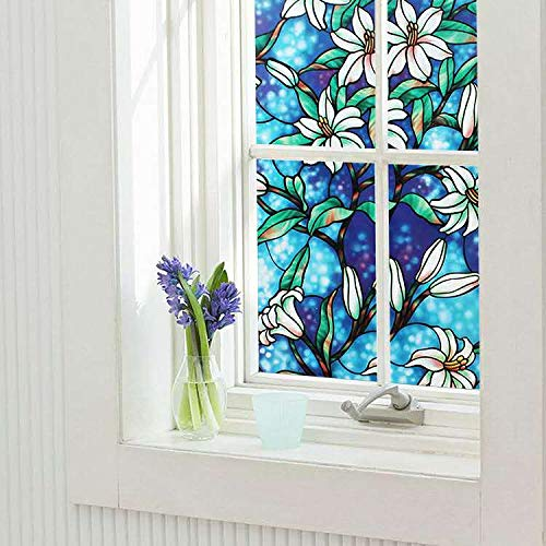 Ablave Decorative Privacy Window Film Frosted Window Film Stained Glass Window Film Window Clings No-Glue Self Static Cling for Home Bedroom Bathroom Kitchen Office 17.7