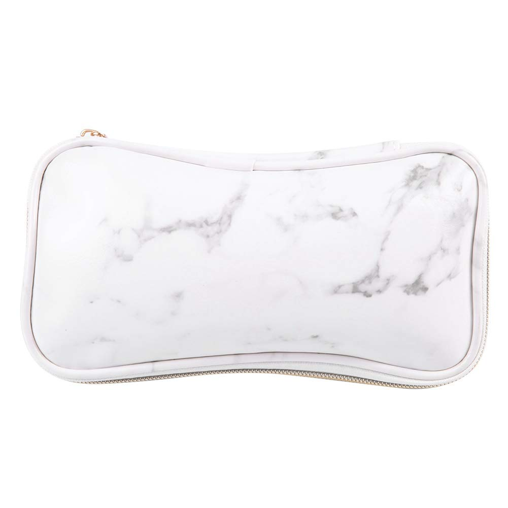 Portable Artist Marble PU Leather Bag, Zipper Makeup Brushes Bag