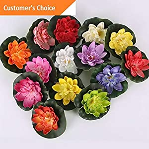 Hebel 5pc Artificial Lotus, Water Lily Floating Flower Pond Fish Tank Plant Yard Decor   Model ARTFCL - 711   4