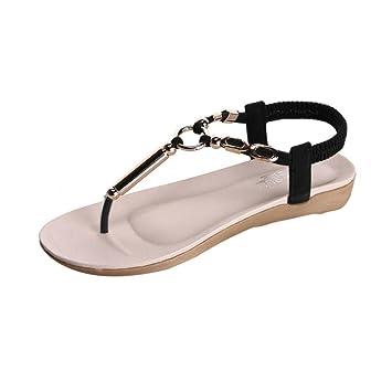 Women Flat Shoes Bead Bohemia Leisure Lady Sandals Peep-Toe Flip Flops Shoes