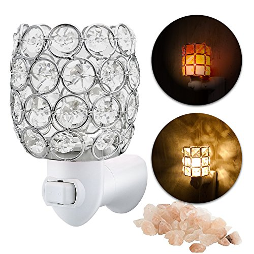 MaymiiHome Mini Himalayan Salt Mini Night Light Lights Lamp, Crystal Chunk in Silver Mosic Glass Crystal Vase Cup Lantern Basket Firw Bowl,UL Approved Plug 2 Bulbs Glow,Pulg in Wall Night Light