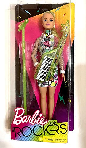 Rocker Barbie - You Can Be Anything Barbie and the Rockers Doll measures approximately 12 inches tall with Lime Keytar and Coordinating Micropho