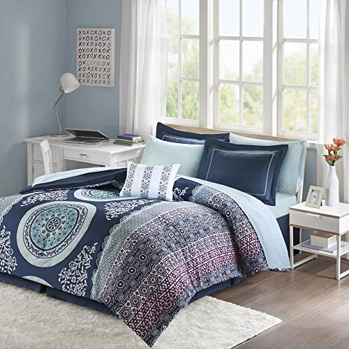 Intelligent Design Loretta Ultra Soft Brushed Microfiber Bohemian Boho Medallion Comforter and Sheet Set Bag Bedding, Full, Navy 9 Piece
