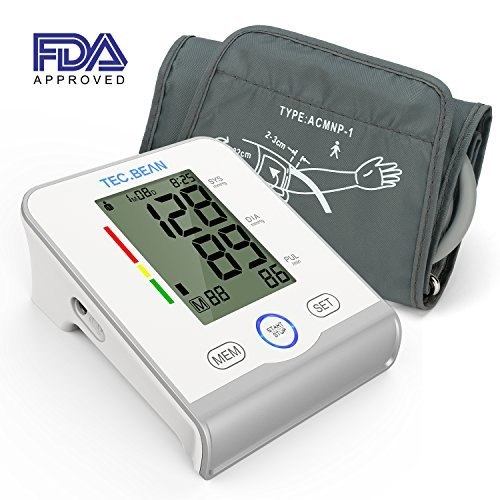 TEC.BEAN Arm Blood Pressure Monitor - Accurate, FDA Approved - Adjustable Cuff, Large Screen Display - Irregular Heartbeat & Hypertension Detector by Guard by TEC.BEAN