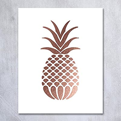 Pineapple Rose Gold Foil Art Print Small Poster Tropical Chic Rose Metallic Poster Modern Wall Art Gold Decor 8 inches x 10 inches B18